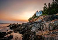 Bass Harbor Head Light lighthouse at dusk, Maine, USA