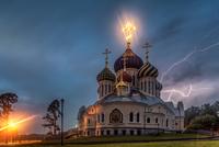 Lightning over church