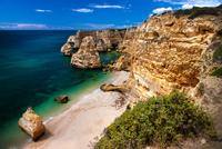 Praia da Marinha and Atlantic Ocean, Albufeira, Algarve, Faro District, Portugal