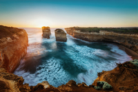 Cliffs and sea stacks of Island Archway in Loch Ard Gorge, Port Campbell, Victoria, Australia