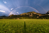 Rainbow over mountains of Alps, Schwangau, Bavaria, Germany