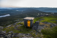 Wooden outhouse in wilderness area, Norway