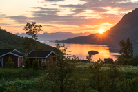 Lakeside cottages at sunset, Norway