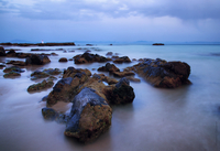 Rocky seascape with clouds, Tarifa, Andalusia, Spain