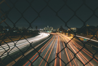 Vehicle light trails on highway, Los Angeles, California, USA