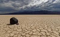 Lone Rock in Death Valle desert landscape, Death Valley, California, USA