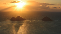 Na Mokulua islands in Pacific Ocean at sunset, Kailua, Hawaii, USA