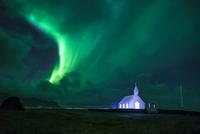 Aurora over church, Budir, Western Region, Iceland
