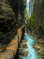 Boardwalk in narrow canyon in Leutasch Gorge, Mittenwald, Bavaria, Germany