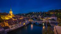 Old town of Bern at night, Bern, Switzerland