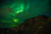 Aurora over Kangerluarsunnguaq fjord, Sisimiut, Qeqqata, Greenland, Denmark