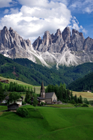 Santa Magdalena village in Funes Valley under Dolomites mountains, Santa Magdalena, South Tyrol, Italy