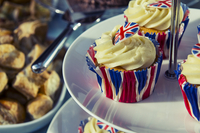 Close-up of cupcakes decorated with UK flag, London, England, UK