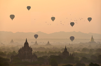 Balloons over the temples of Bagan