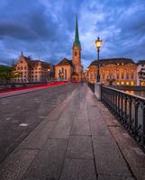 Fraumunster Church and Munster Bridge in the Evening, Zurich, Sw
