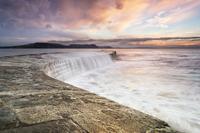 Sunrise falls at Lyme Regis Cobb 11098080224| 写真素材・ストックフォト・画像・イラスト素材|アマナイメージズ