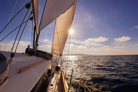 Sailing boat wide angle view in the sea 11098080455| 写真素材・ストックフォト・画像・イラスト素材|アマナイメージズ