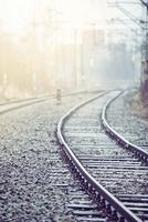 View of railroad rails - vintage style. 11098080942| 写真素材・ストックフォト・画像・イラスト素材|アマナイメージズ