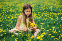 a little girl sitting on a yellow flower in a field 11098081218| 写真素材・ストックフォト・画像・イラスト素材|アマナイメージズ