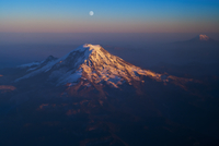 Mt. Rainier with Mt. Adams and Moon