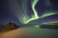 Aurora Borealis Meets Sea Fog 11098082157| 写真素材・ストックフォト・画像・イラスト素材|アマナイメージズ