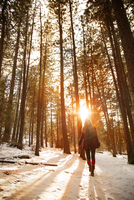 Young woman walking through winter forest
