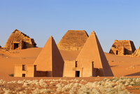 Pyramids of Meroe against clear sky