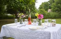 Table set for garden dinner 11100018048| 写真素材・ストックフォト・画像・イラスト素材|アマナイメージズ