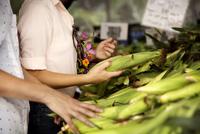 Woman buying corn at market