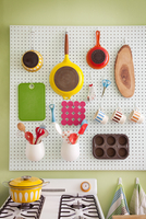 Kitchen supplies on wall