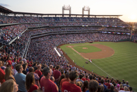View of crowded baseball stadium
