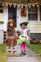 Children (2-3, 4-5) wearing costumes on halloween