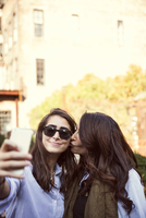 Two female friends photographing self on street