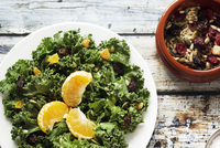 Salad with green vegetables and orange