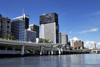 Urban city bordering river