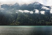 USA, Washington State, Mt. Rainier National Park, Rowboat in lake