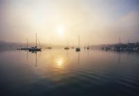 USA, Michigan, Charlevoix Harbor in fog