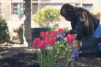 Woman working in flowerbed