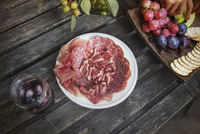 Slices of meat on table