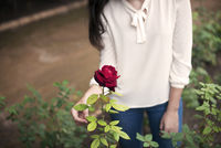 Young woman looking at red rose