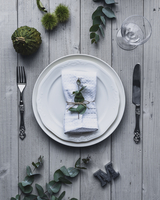 White and green place setting