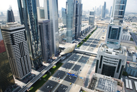 United Arab Emirates, Dubai, Cityscape view with financial district on sunny day