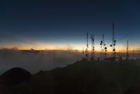 Silhouette of Telcom towers at Volcan Baru during sunset