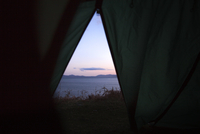 River seen from tent during sunset