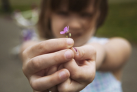 Cute girl holding flower on field