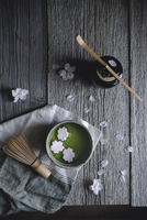 Overhead view of Macha tea with marshmallows on wooden table
