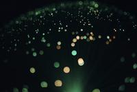 Illuminated fiber optics against black background