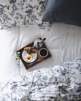 Directly above shot of breakfast tray loaded with croissant, fried egg and coffee on bed