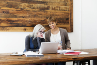 Female business colleagues using laptop at table in creative office