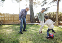 Cheerful grandparents and grandsons playing soccer at yard